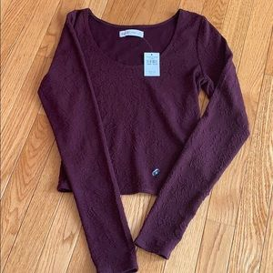 NWT A&F crop top/long sleeve/wine colored top